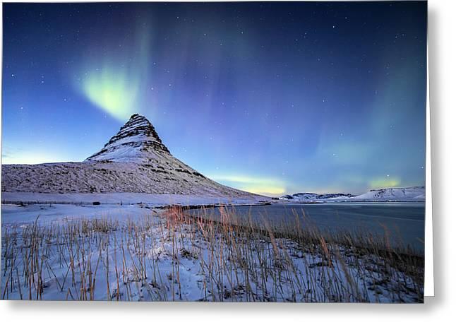 Northern Lights Atop Kirkjufell Iceland Greeting Card