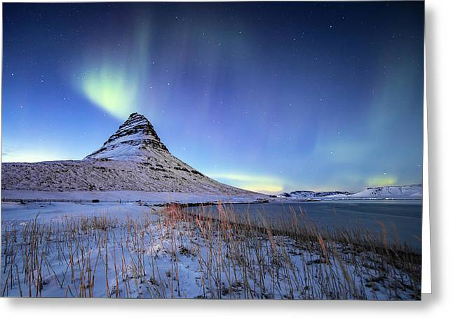 Northern Lights Atop Kirkjufell Iceland Greeting Card