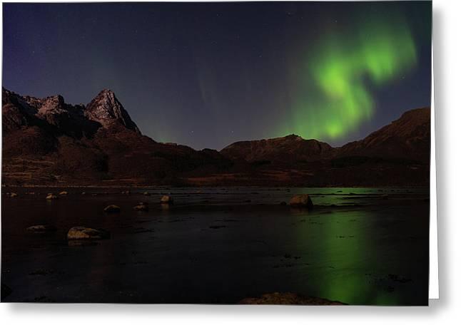 Northern Lights Aurora Borealis In Norway Greeting Card
