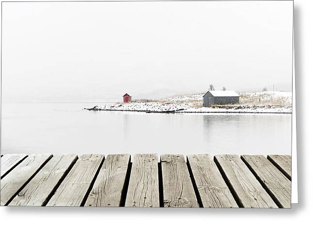 Norway Cottage On Winter Coast With Greeting Card