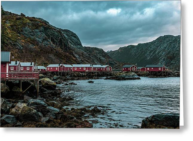 Norway Panoramic View Of Lofoten Islands In Norway With Sunset Scenic Greeting Card