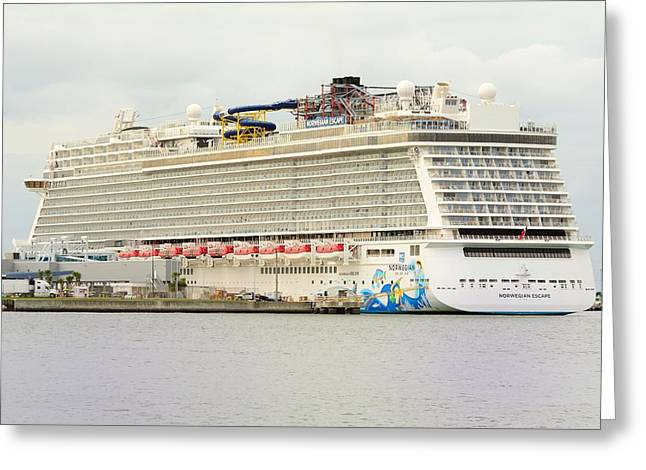Greeting Card featuring the photograph Norwegian Escape In Port by Bradford Martin