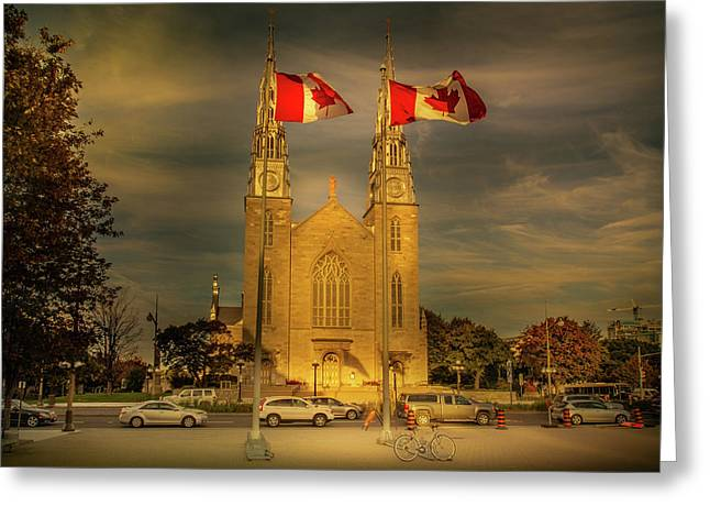 Greeting Card featuring the photograph Notre Dame Basilica by Juan Contreras