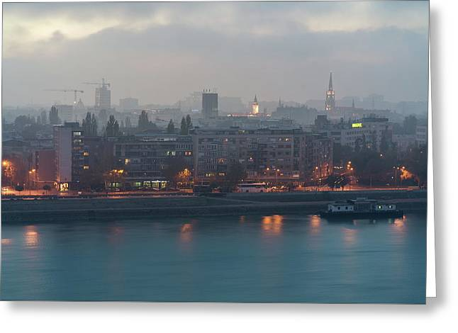 Greeting Card featuring the photograph Novi Sad Night Cityscape by Milan Ljubisavljevic