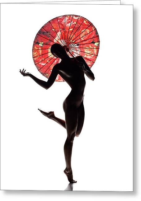 Nude Woman With Red Parasol Greeting Card