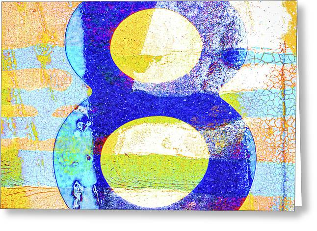 Number 8 In Yellow And Blue Greeting Card