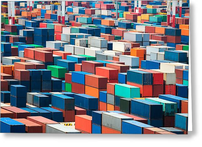 Numerous Shipping Containers In Port Greeting Card