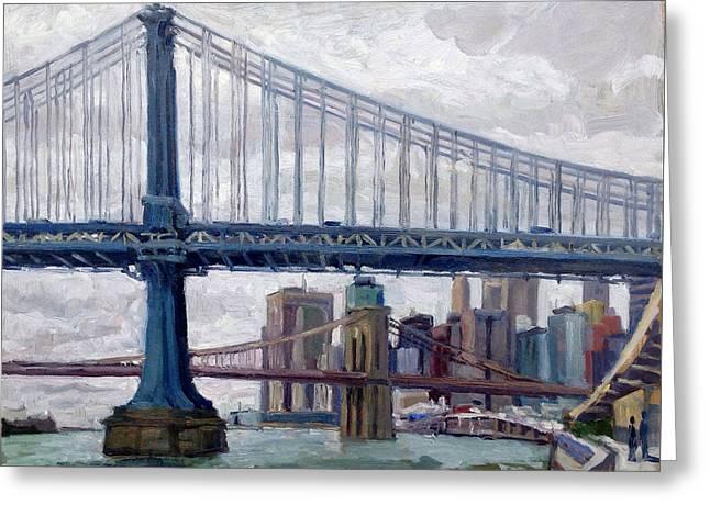 Nyc Grey And Blue Manhattan Bridge Greeting Card