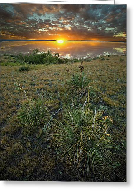 Greeting Card featuring the photograph Oahe Sunset  by Aaron J Groen