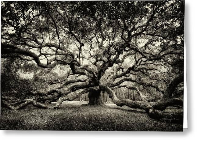 Oak Of The Angels - Sepia Greeting Card
