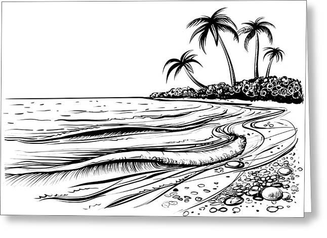 Ocean Or Sea Beach With Waves, Sketch Greeting Card