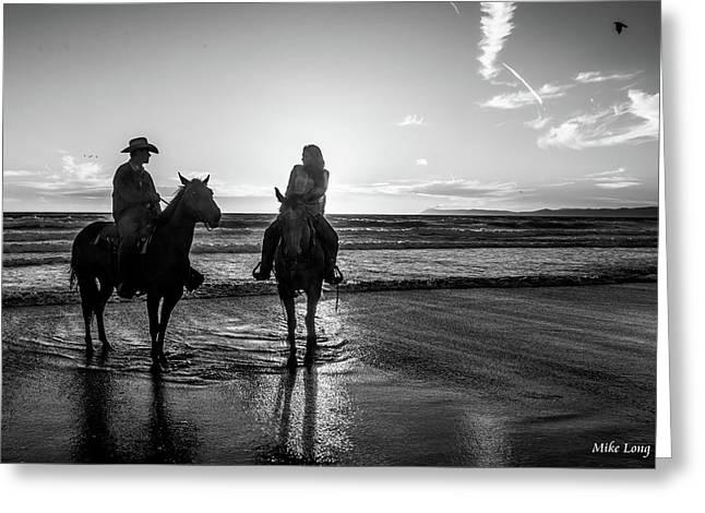 Ocean Sunset On Horseback Greeting Card