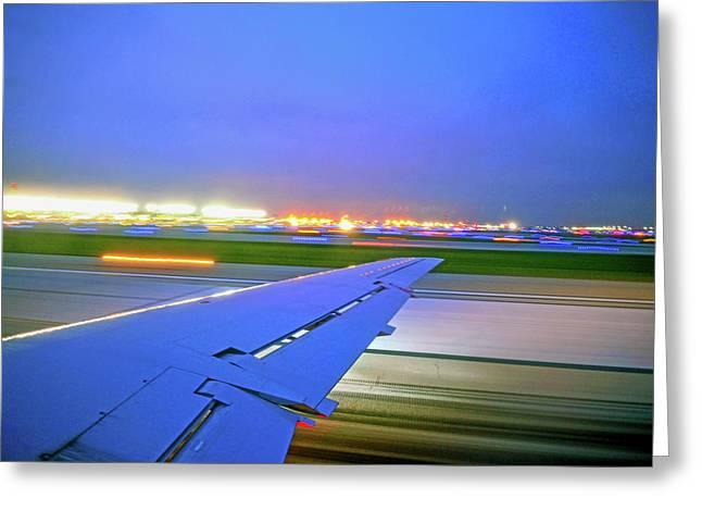 O'hare Night Takeoff Greeting Card