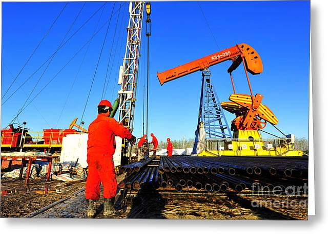 Oil Field Oil Workers At Work Greeting Card