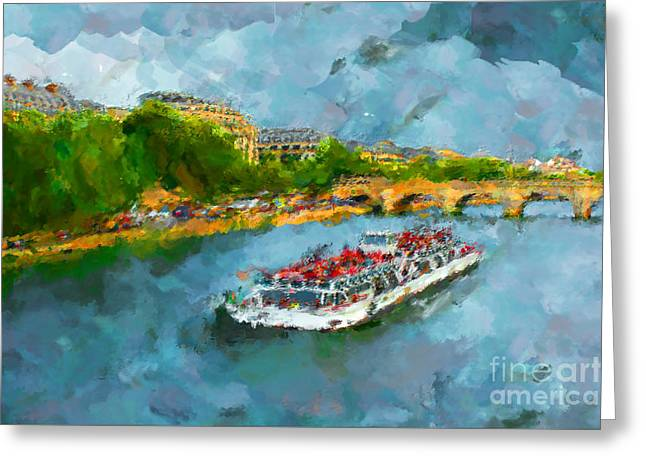Oil Paint Paris Seine Boat Greeting Card