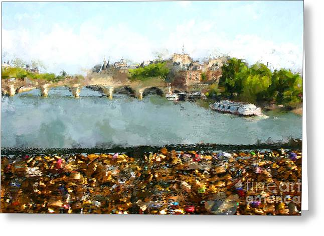Oil Paint Paris Seine River Greeting Card