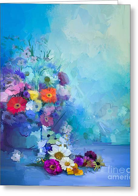 Oil Painting Flowers In Vase. Hand Greeting Card