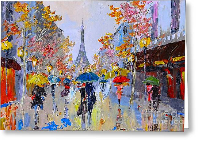 Oil Painting Of Eiffel Tower, France Greeting Card