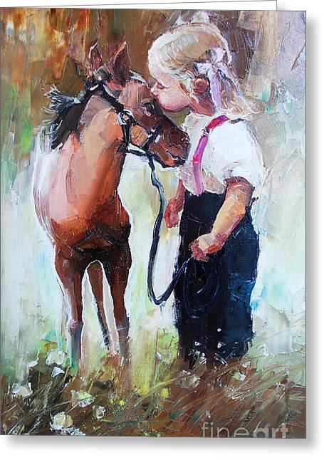 Oil Painting Of Little Girl Petting Her Greeting Card