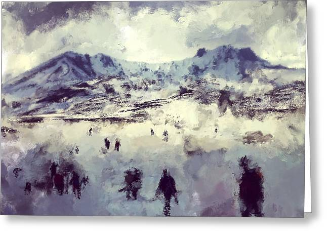 Oil Painting Snowy Mountains Greeting Card