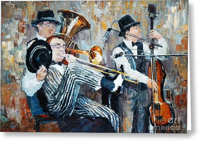Oil Painting, The Orchestra Plays Greeting Card