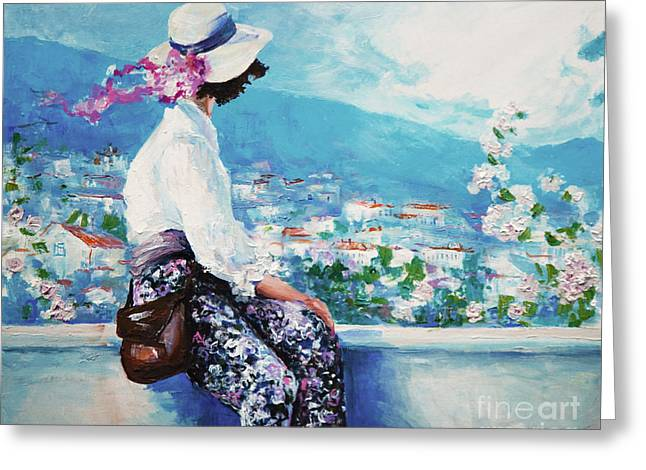 Oil Painting, Woman Sitting And Looking Greeting Card