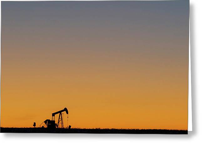 Greeting Card featuring the photograph Oil Pump After Sunset 02 by Rob Graham