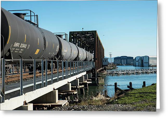Oil Train Over Swinomish Channel Greeting Card