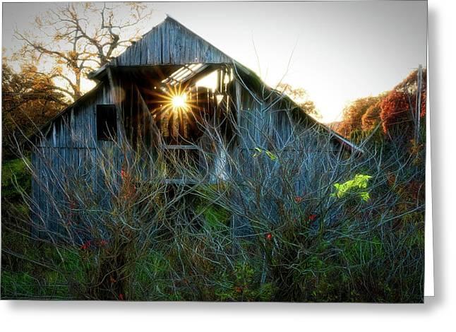Old Barn At Sunset Greeting Card
