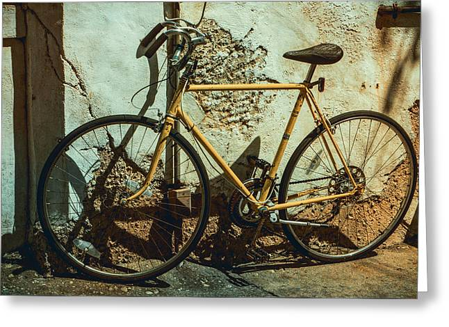 Old Bike Against And Old Wall Greeting Card