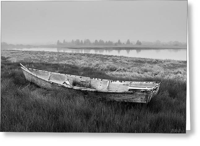Old Boat In Tidal Marsh Greeting Card