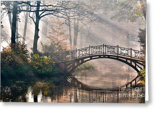 Old Bridge In Autumn Misty Park - Hdr Greeting Card