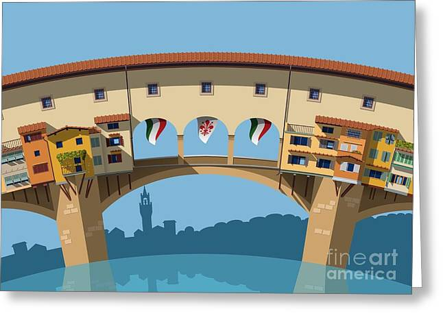 Old Bridge In Florence Flat Illustration Greeting Card