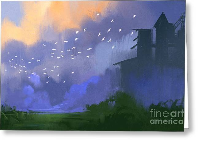 Old Building In A Field,landscape Greeting Card