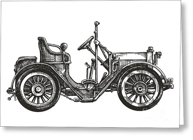 Old Car On A White Background. Sketch Greeting Card
