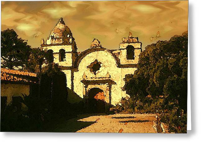 Old Carmel Mission - Watercolor Painting Greeting Card
