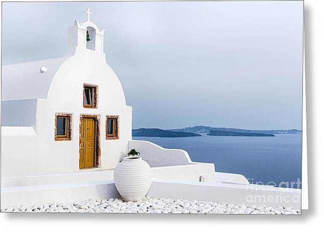Old Church In Santorini Island, Greece Greeting Card