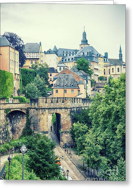 Greeting Card featuring the photograph old city Luxembourg from above by Ariadna De Raadt