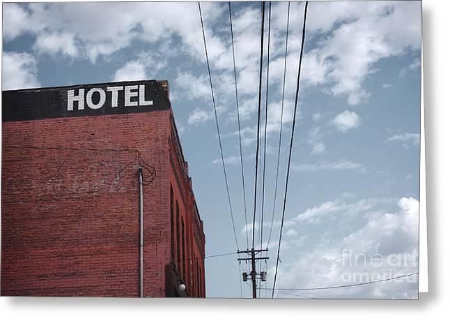 Old Dilapidated Brick Motel With Cloudy Greeting Card