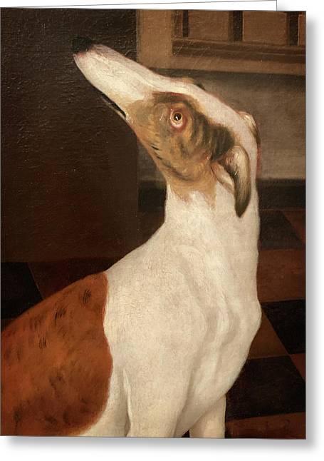 Old Dog Painting Greyhound Greeting Card
