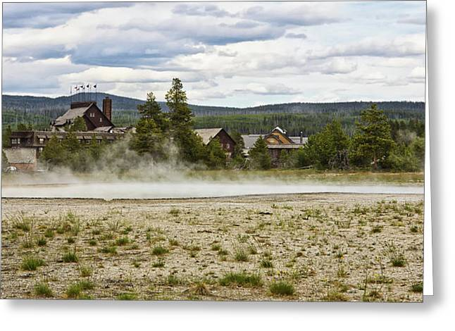 Greeting Card featuring the photograph Old Faithful Inn Hotel In The Yellowstone National Park by Tatiana Travelways