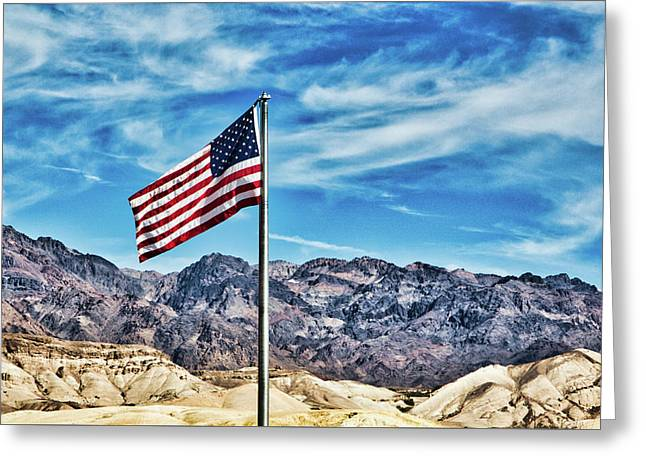 Old Glory And Death Valley Greeting Card