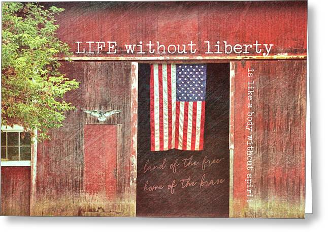 Old Glory Quote Greeting Card by JAMART Photography