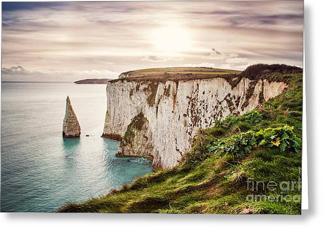 Old Harry Rocks, Located At Handfast Greeting Card