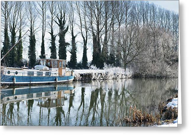 Old House Boat On The River Thames In Winter Greeting Card by Tim Gainey