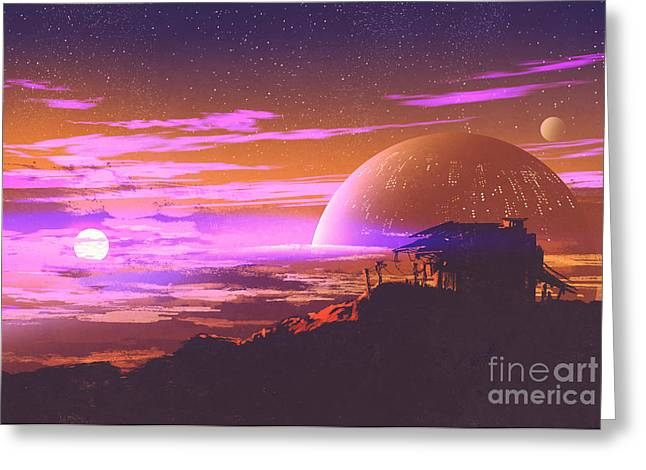 Old House On Planet Greeting Card