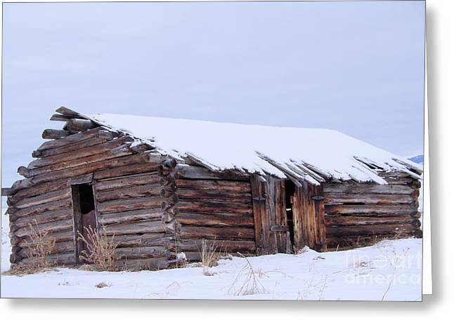 Old Log Cabin Cabin In Snowfall Greeting Card