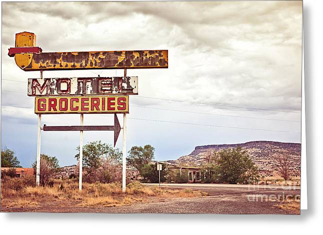 Old Motel Sign On Route 66, Usa Greeting Card