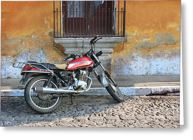 Old Motorcyle In Colonial Antigua Greeting Card