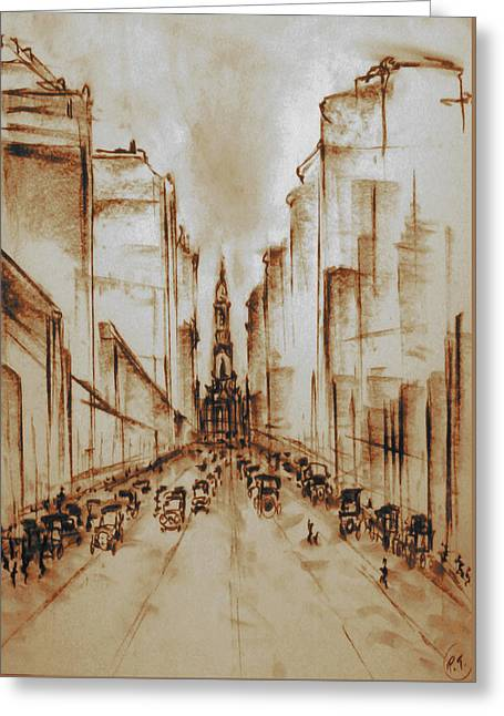 Old Philadelphia City Hall 1920 - Pencil Drawing Greeting Card